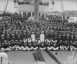 King George V and Queen Mary on board 'HMY Victoria and Albert', 1935. Creator: Kirk & Sons of Cowes.