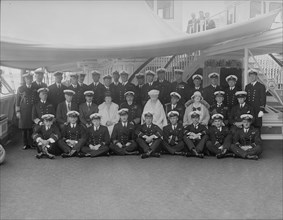 King George V and Queen Mary on board 'HMY Victoria and Albert', 1931. Creator: Kirk & Sons of Cowes.