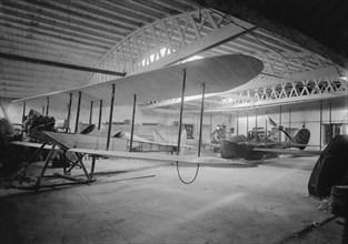 Saunder's Aeroplanes in hangar, East Cowes, 1914. Creator: Kirk & Sons of Cowes.