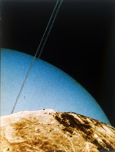 Uranus seen from Miranda, 1986. Creator: NASA.