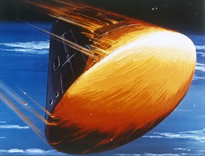 Artist's concept of Command Module re-entry in 5000° heat. Creator: NASA.