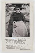Shani-pob-man (Jane Leonard), New Quay, Cardiganshire with a short poem about her, c1906.