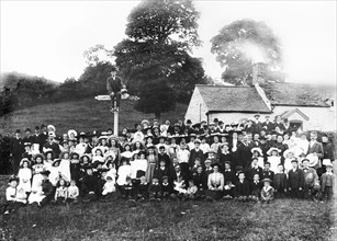 Sunday School Tea Party in Llanfyllin, Montgomeryshire. c.1910.