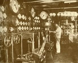 """The Main Engine Control Platform of the """"Aquitania"""".', c1930."""