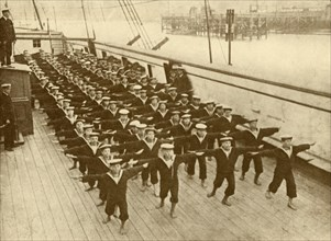 """Physical Drill on the """"Arethusa"""".', c1930."""