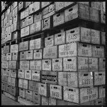 Crates of Bass beer in storage, Burton upon Trent, Staffordshire, 1965-1968