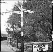 Road sign, Rosedale Abbey, Ryedale, North Yorkshire, 1967