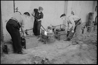 Workers at the Wear Flint Glass Works, Alfred Street, Millfield, Sunderland, 1961