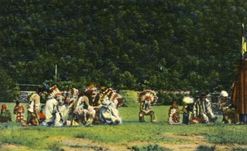 Cherokee Indians in Full Native Costume in one of their Ceremonial Dances - On Cherokee Indian Rese