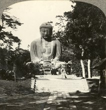 Colossal statue of Buddha, reverenced by the Japanese, in a sylvan Temple, Kamakura, Japan', c1900.