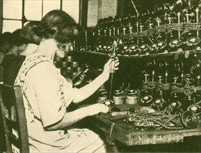 Assembling the New Automatic Telephones Ready for Distribution to Subscribers', c1930.