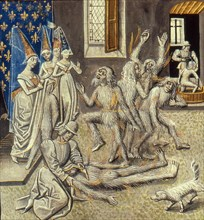 Bal des Ardents (Miniature from the Grandes Chroniques de France by Jean Froissart), 15th century.