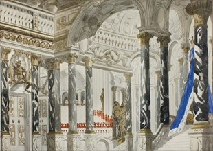 Stage design for the ballet Sleeping beauty by P. Tchaikovsky, 1921.