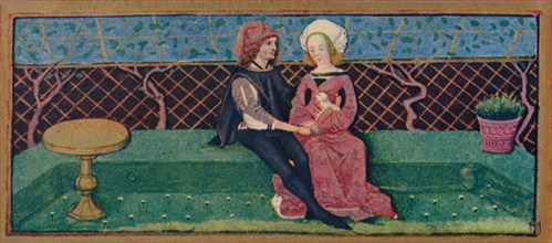 April - lovers in a garden, 15th century, (1939).