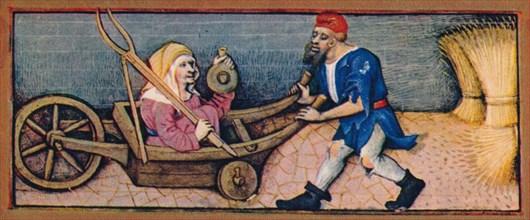 August - old woman in wheelbarrow, 15th century, (1939).
