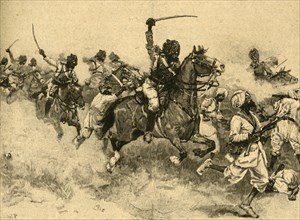 Charge of the cavalry at the Battle of Miani (Meeanee), Sindh, India, 1843 (c1890).