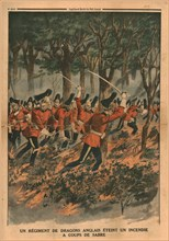 A regiment of English dragoons puts out a fire with sabre blows,1914