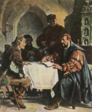 Luther as Junker Jörg in the Jena Inn with Swiss students,1522