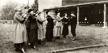 Members of the WRNS at revolver practice,1915
