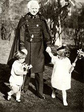 General Bramwell Booth with his two grandchildren,1929