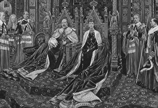 'King Edward VII. And Queen Alexandra at the Opening of His Majesty's First Parliament, 1901'.  Creator: Unknown.