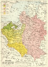 'Poland and the Partitions of 1772, 1793 & 1795', (c1920). Creator: John Bartholomew & Son.