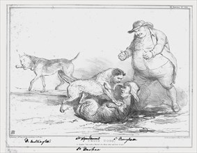 'Trios Dogs, A Graphic Tale, with a Moral, for those who can find it out!', 1834. Creator: John Doyle.