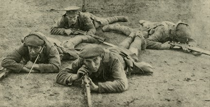 Listening for sounds from underground, Western Front, First World War, c1916, (c1920). Creator: Unknown.