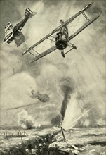 Trench Strafing: British low-flying scouts co-operating in an infantry attack on the Western Front Creator: Unknown.