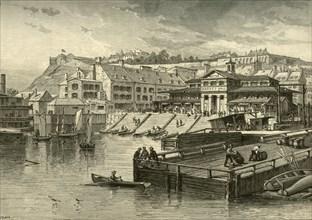 'Market-Hall and Boat-Landing, Quebec', 1874. Creator: John Filmer.