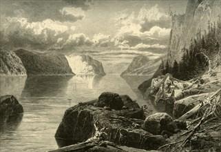 'Point Noir, Trinity Rock, and Cape Eternity, Saguenay River', c1870. Creator: Frederick William Quartley.