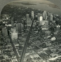 'Skyscrapers of Downtown Detroit - Michigan Ave. to Detroit River and Belle Isle Park', c1930s. Creator: Unknown.