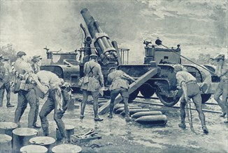 'British Heavy Howitzer in Action on the Western Front', 1916. Creator: Unknown.