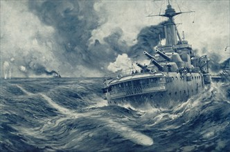'Missed! U Boat's Torpedo Passes Beyond the Stern of British War Vessel', 1916. Creator: Unknown.