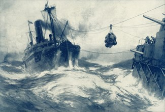 'Coaling the Fleet During a Gale', 1917. Creator: Unknown.