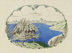 The Hut on Chicken Legs. Illustration to the poem Ruslan and Lyudmila by A. Pushkin, 1921-1926. Creator: Chekhonin, Sergei Vasilievich (1878-1936).