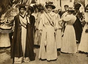 Christabel Pankhurst and Emmeline Pethick-Lawrence, Hyde Park, London, 21 June 1908, (1933).  Creator: Unknown.