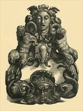 Door knocker with dolphins and satyrs, early 17th century, (1881). Creator: John Emms.