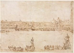 A Procession of Triumphal Cars in the Piazza San Marco, Venice, Celebrating the Visit..., 1782. Creator: Francesco Guardi (Italian, 1712-1793).