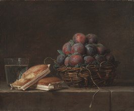 Basket of Plums, 1769. Creator: Anne Vallayer-Coster (French, 1744-1818).