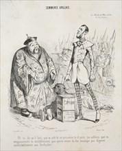 Commerce anglais. Yé vo dis quil faut, que vo achte ce poisonne to d'suite..., 1840. Creator: Jean-Jacques Grandville (French, 1803-1847).