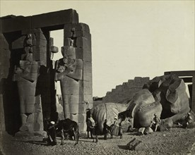 Fallen Statue at the Ramesseum, Thebes, 1857. Creator: Francis Frith (British, 1822-1898); William Mackenzie.