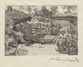 Fontainebleau Forest: Quarryman's Lodge (La Forêt de Fontainebleau: Une loge de carrier), 1890. Creator: Auguste Louis Lepère (French, 1849-1918); A. Desmoulins, Published in Revue Illustrée, 1887-90.
