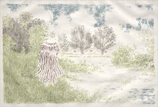 Landscapes: Woman in a Striped Dress (Paysage: Femme en robe à rayures), 1898. Creator: Ker Xavier Roussel (French, 1867-1944).