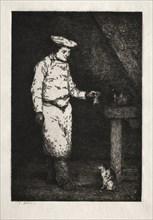 Le déjeuner du chat. Creator: Théodule Ribot (French, 1823-1891).