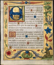 Leaf from a Psalter and Prayerbook: Initial E with Ornamental Border...(recto), c. 1524. Creator: Unknown.