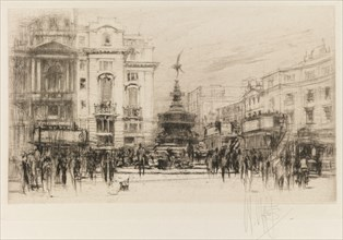 London Set: Piccadilly Circus (with Criterion Theatre), 1924. Creator: William Walcot (British, 1874-1943).
