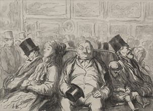 Moment of Rest in the Salon Carré. Creator: Honoré Daumier (French, 1808-1879).