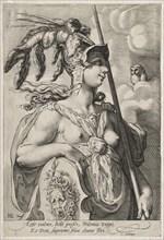 Pallas Athena, c. 1595. Creator: Jan Saenredam (Dutch, 1565-1607).