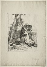Scherzi di Fantasia: Magician Pointing Out a Burning Head to Two Youths, 1750s. Creator: Giovanni Battista Tiepolo (Italian, 1696-1770).